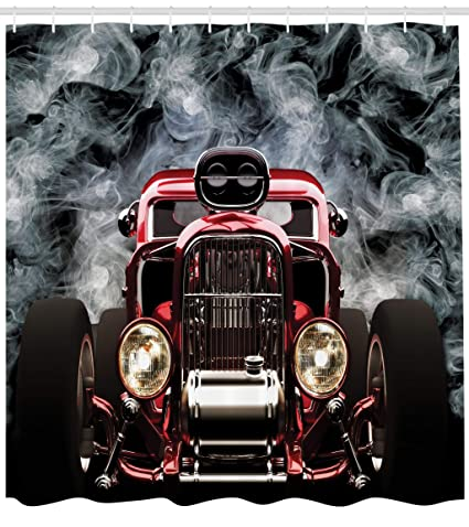 Lunarable Classic Car Shower Curtain Cool Vintage Vehicle With Smokes Background Speed Excitement Themes