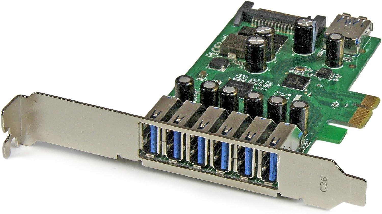 Amazon Com Startech Com 7 Port Pci Express Usb 3 0 Card Standard Low Profile Sata Power Uasp Support 1 Internal 6 External Usb 3 0 Ports Pexusb3s7 Computers Accessories
