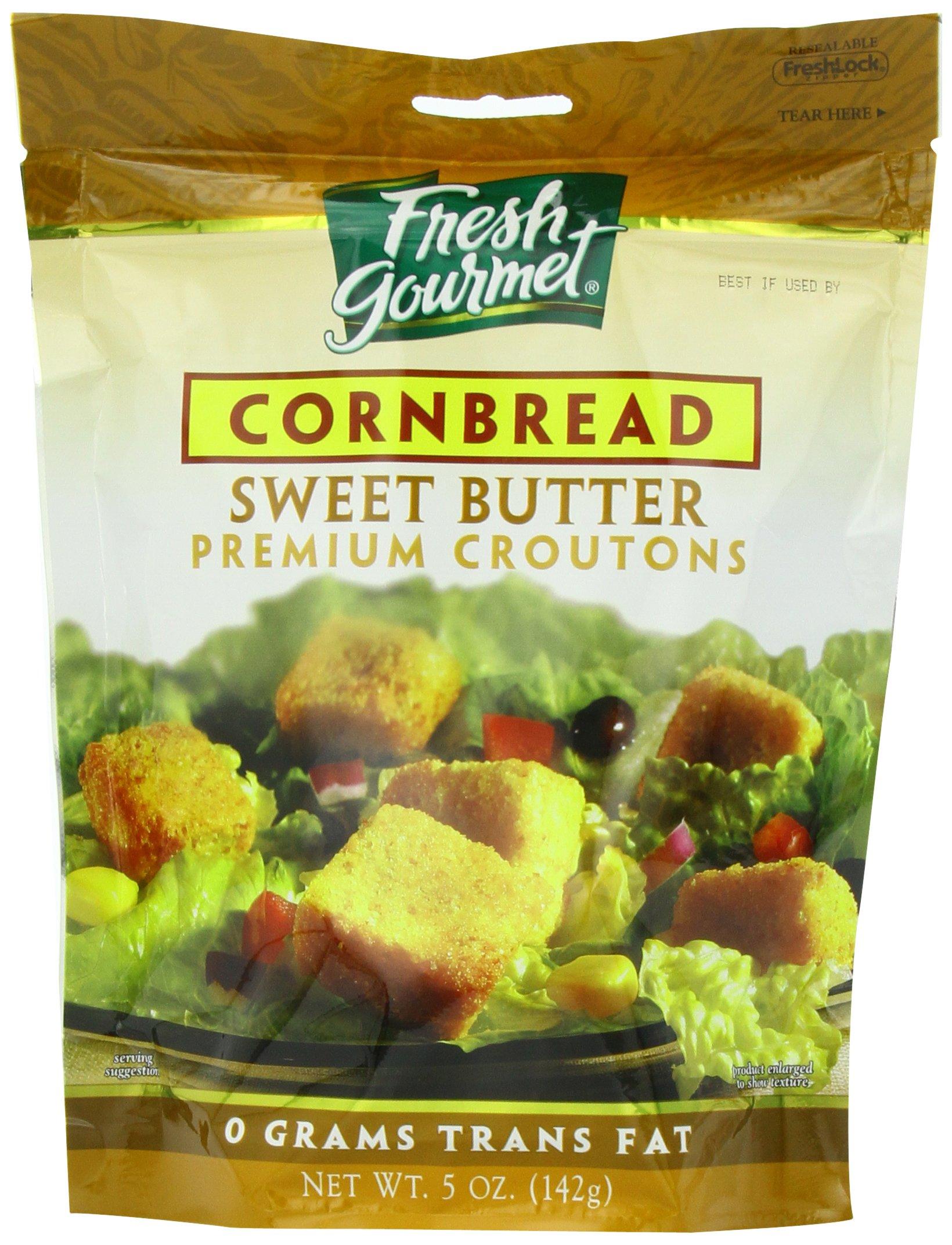 Fresh Gourmet Premium Croutons, Sweet Butter Cornbread, 5 Ounce (Pack of 6)
