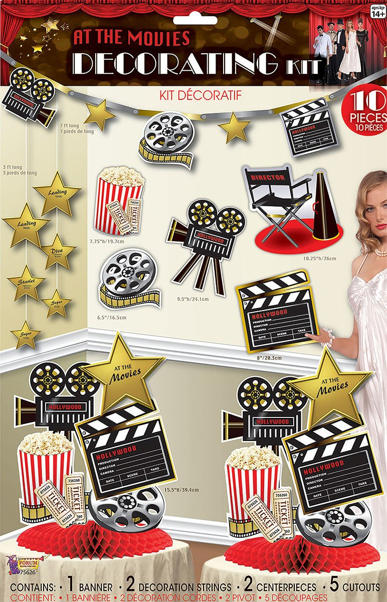 Unisex Room Decoration Hollywood Premiere Popcorn Party At The Movies Decor Kit by Bristol Novelty (Image #2)