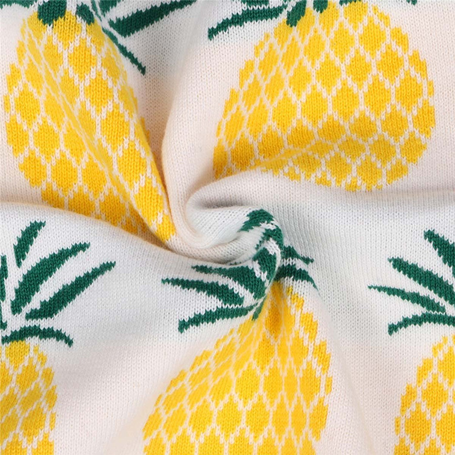 Jojobaby Toddler Unisex Baby Crewneck Cotton Pineapple Print Knit Pullover Sweater