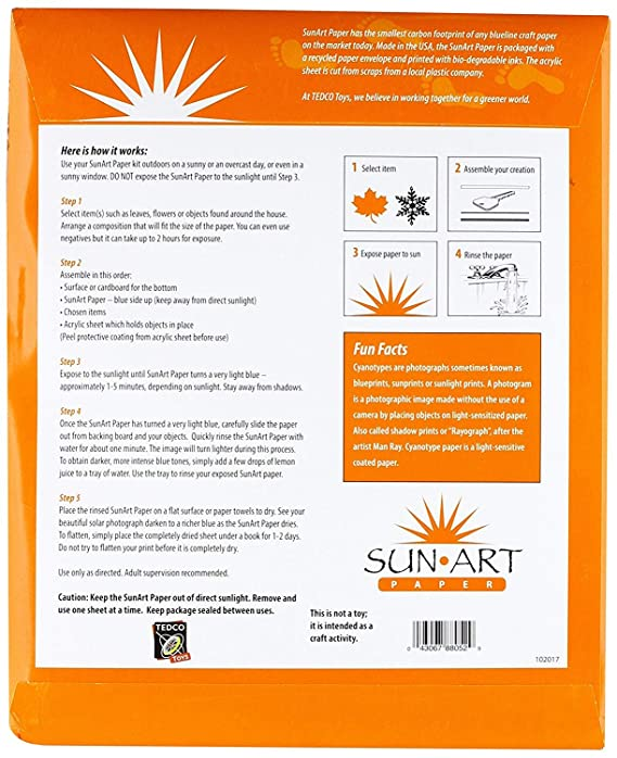 Amazon tedco 8 x 10 sun art paper kit 15 sheets toys games malvernweather Images