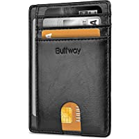 Buffway Slim Minimalist Front Pocket RFID Blocking Leather Wallet