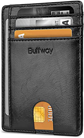 Buffway Slim Minimalist Front Pocket RFID Blocking Leather Wallets for Men  Women - Alaska Black at Amazon Men's Clothing store
