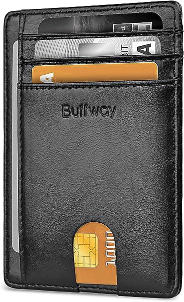 Amazon.com: Buffway - Cartera de piel con bloqueo RFID para ...