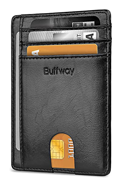 772ec777fa24 Buffway Slim Minimalist Front Pocket RFID Blocking Leather Wallets for Men  Women