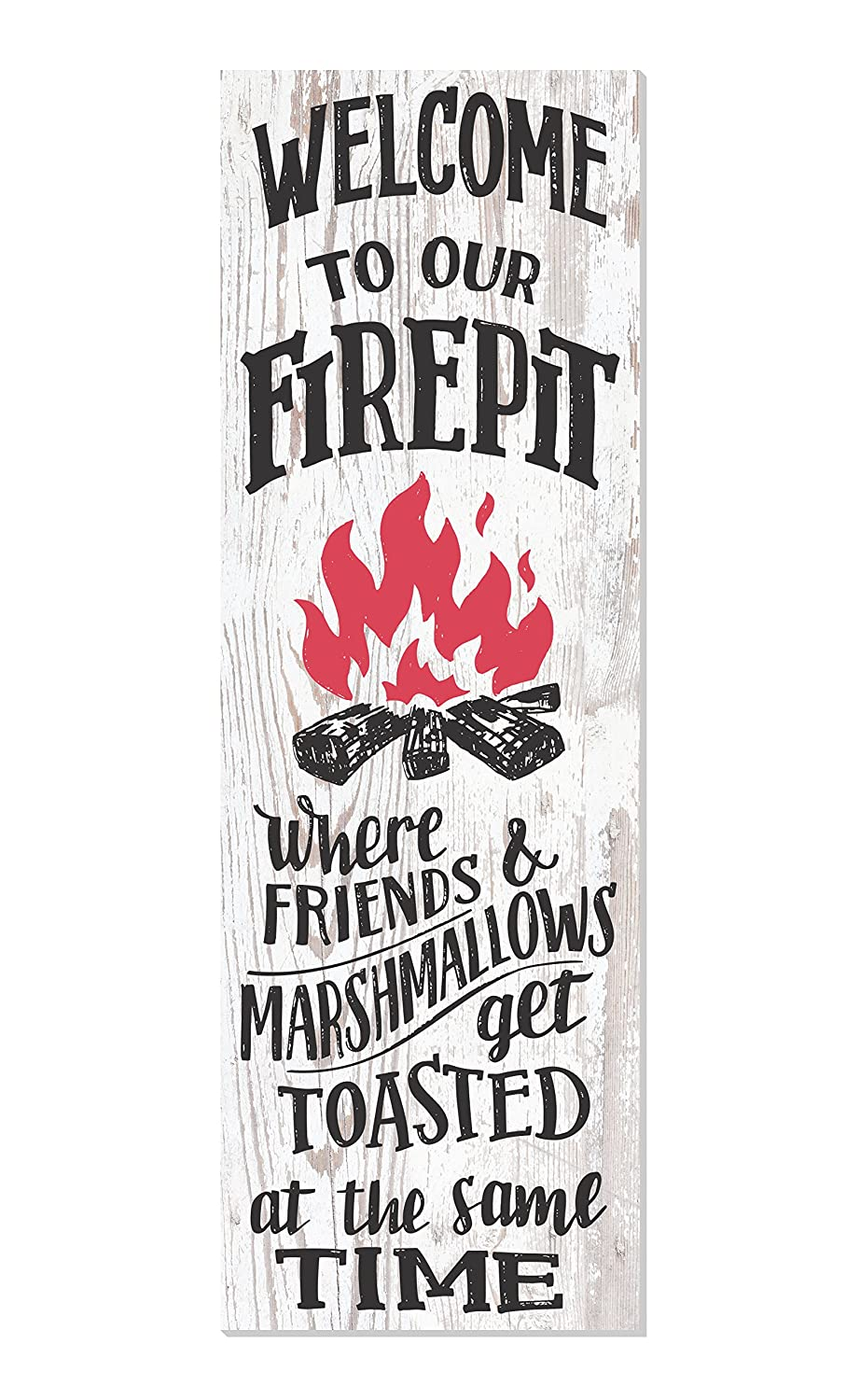 Welcome to Our Fire Pit Rustic White Wood Wall Sign 6x18