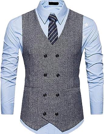 MMCP Mens Sleeveless Business Regular Fit 2 Buttons Suit Vest Waistcoat
