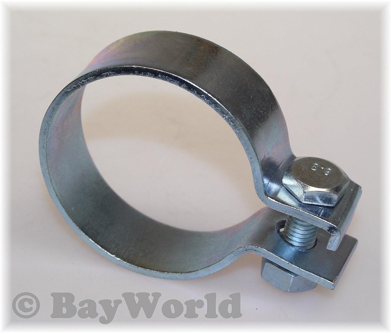 DIN Schelle 63, 5mm Stahl verzinkt 2.50 Zoll Breitbandschelle Auspuffklemme BayWorld 5 mm