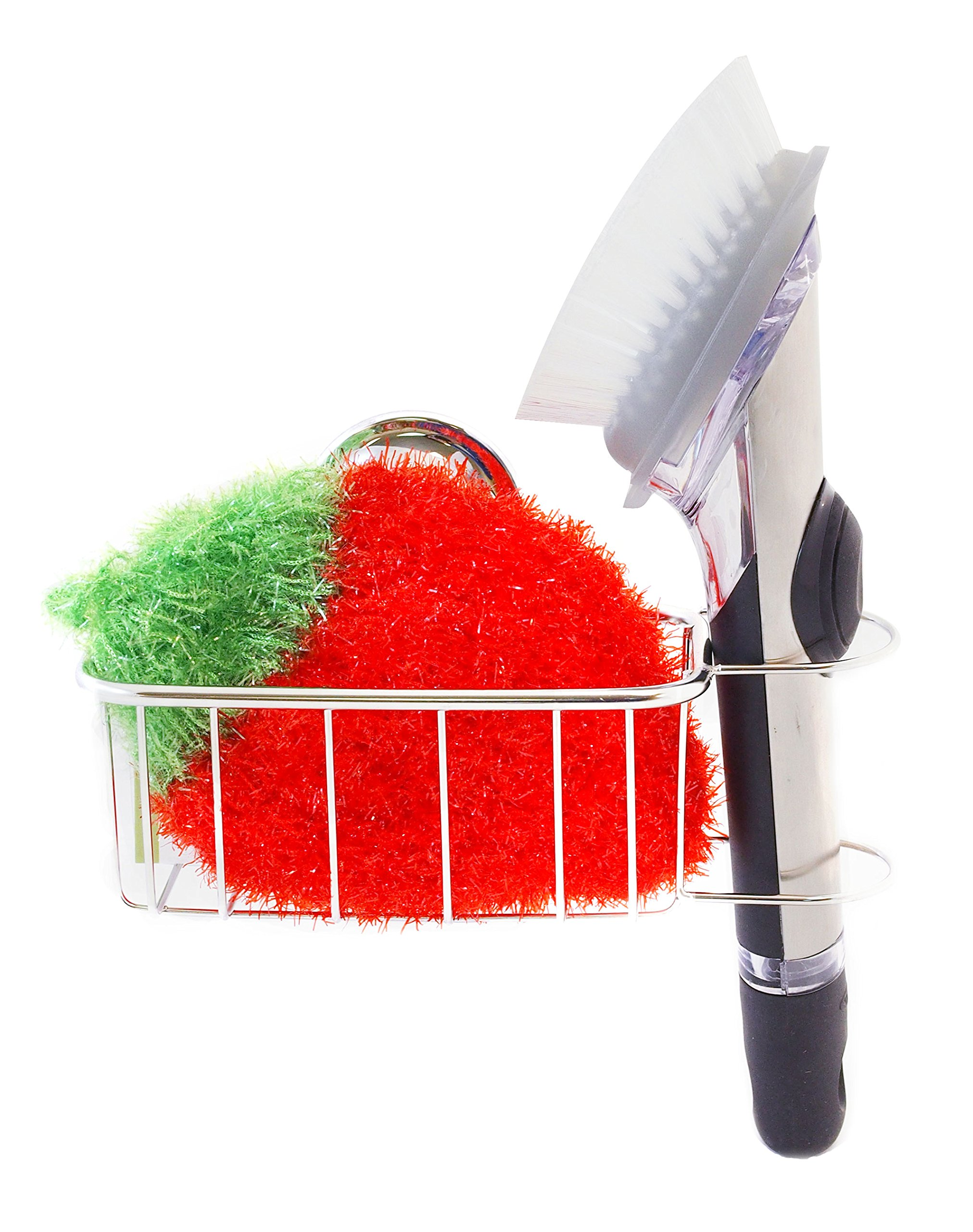 The Crown Choice Sponge Holder and Dish Scrubbie Set   Kitchen Sink Organizer or Brush Caddy with Non-Scratch Scrubbing Pad   Stainless Steel Suction Basket for Sponges, Scrubbers, Dish Brushes