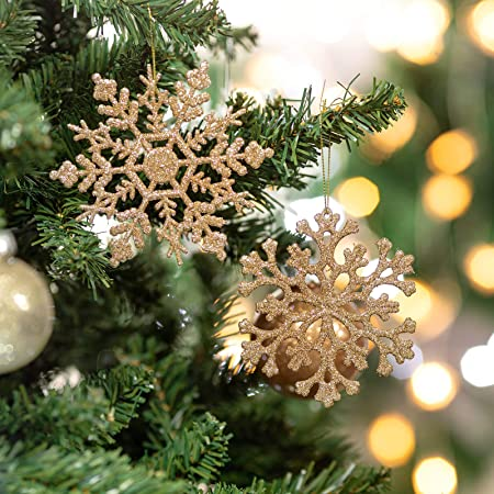 Amazon Com Glitter Snowflake Ornaments Plastic Christmas Tree Decorations 4 7 30ct Christmas Hanging Decorations With Silver Rope For Wedding Birthday Home Xmas Tree Window Door Accessories Champagne Gold Home Kitchen