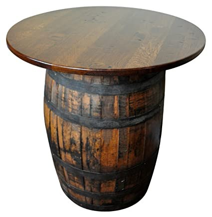 Amazoncom Rustic Whiskey Barrel Table Bar Table Solid Wood