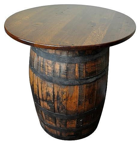 Amazoncom Rustic Whiskey Barrel Table Bar Table Solid Wood