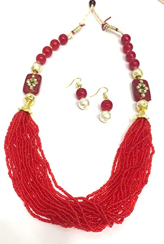 2264ea2e7 Buy Digital Dress Room Red Beads Kundan Polki Work White Pearl with Gold  Work Necklace Earring Set for Women Girls Costume Fashion Artifical  Imitation ...