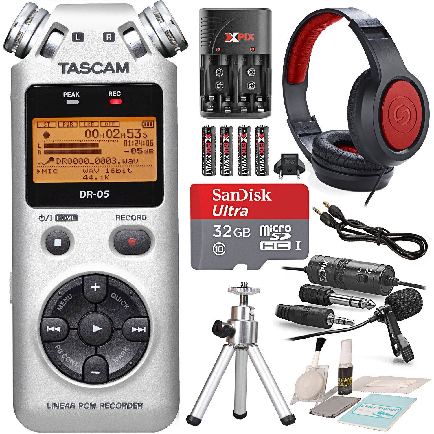Tascam DR-05 (Version 2) Portable Handheld Digital Audio Recorder (Silver) with Platinum accessory bundle Photo Savings PS-DR-05SILVER