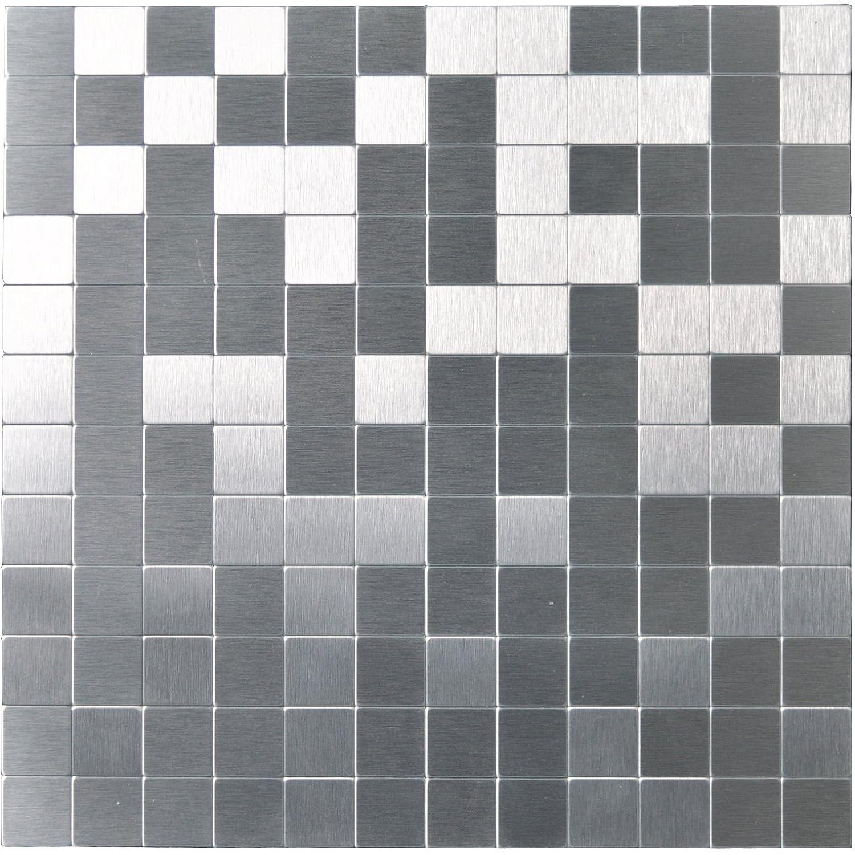 Art3d Pieces Aluminium Wall Backsplash Tile Peel and Stick, 30cm x 30cm Brushed Silver FBA_A16011P1