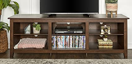 Superbe WE Furniture 70u0026quot; Wood Media TV Stand Storage Console   Traditional  Brown
