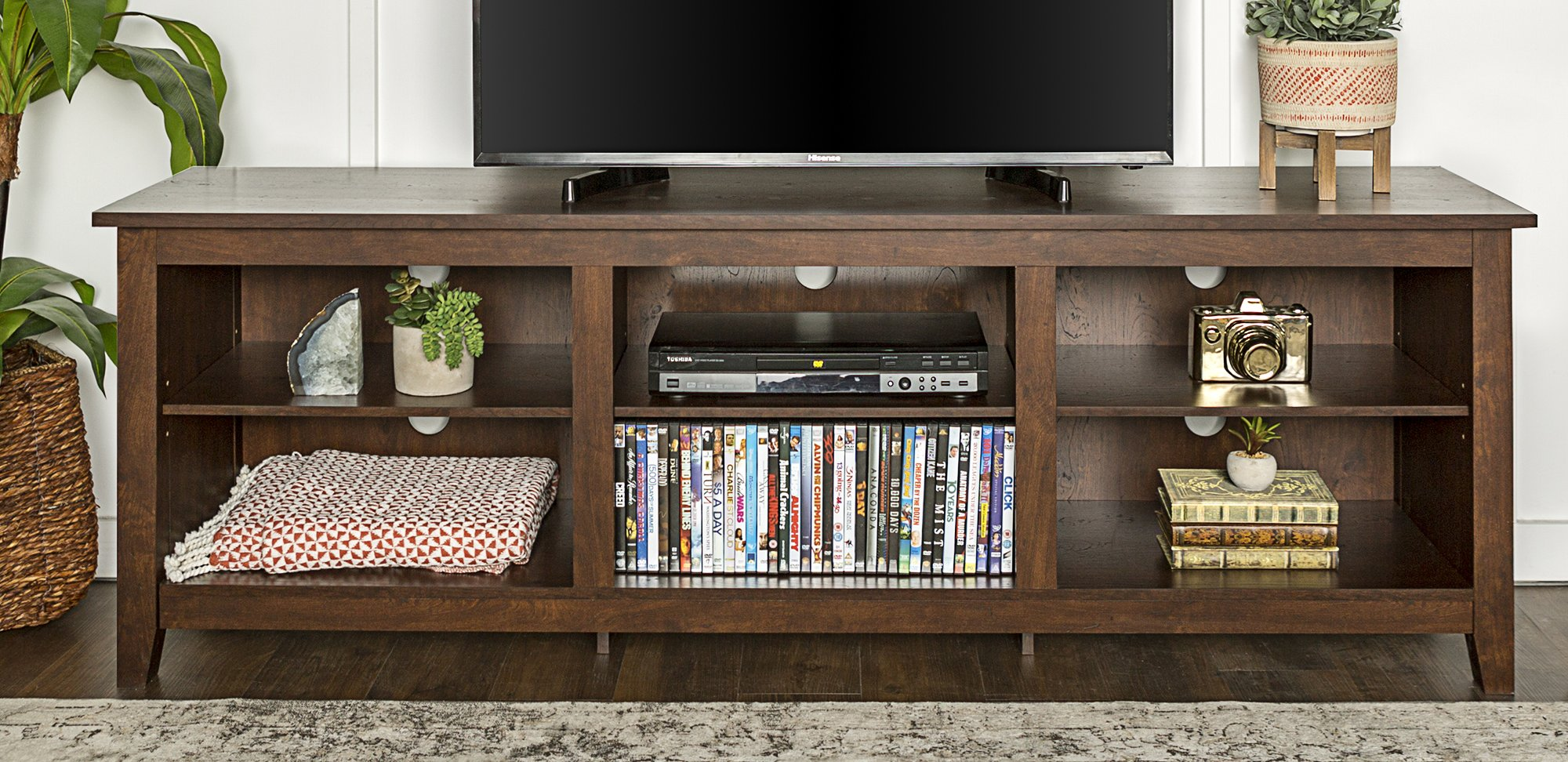 WE Furniture 70'' Wood Media TV Stand Storage Console - Traditional Brown