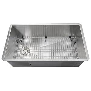 Nantucket Sinks ZR3218-OSD 32-Inch Pro Series Single Bowl Undermount Kitchen Sink with Offset Drain, Stainless Steel
