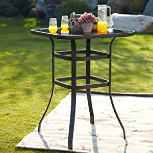 """Festival Depot 40"""" Bar Height Outdoor Patio Bistro Table Metal Square Side Table Tempered Glass Top All Weather (31.5""""x 31.5""""x 41.2""""H)"""