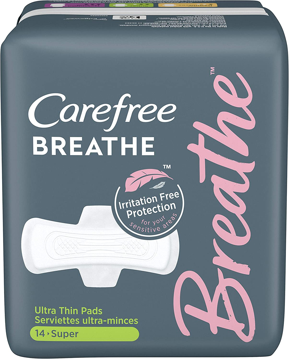 Carefree Breathe Ultra Thin Super Pads with Wings, Irritation-Free Protection, 14 Count - Pack of 8