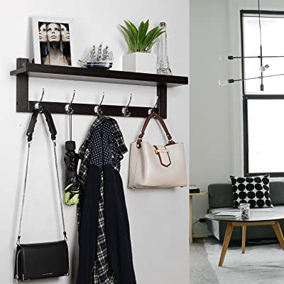 Mudroom Hanging Bamboo Shelf With Dual Metal Hooks