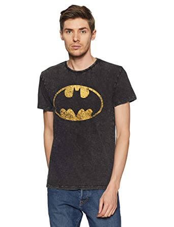 3c35acd2b0f9 Batman by Free Authority Men's Printed Regular Fit T-Shirt (BM0GMT713_Black( Acid Wash
