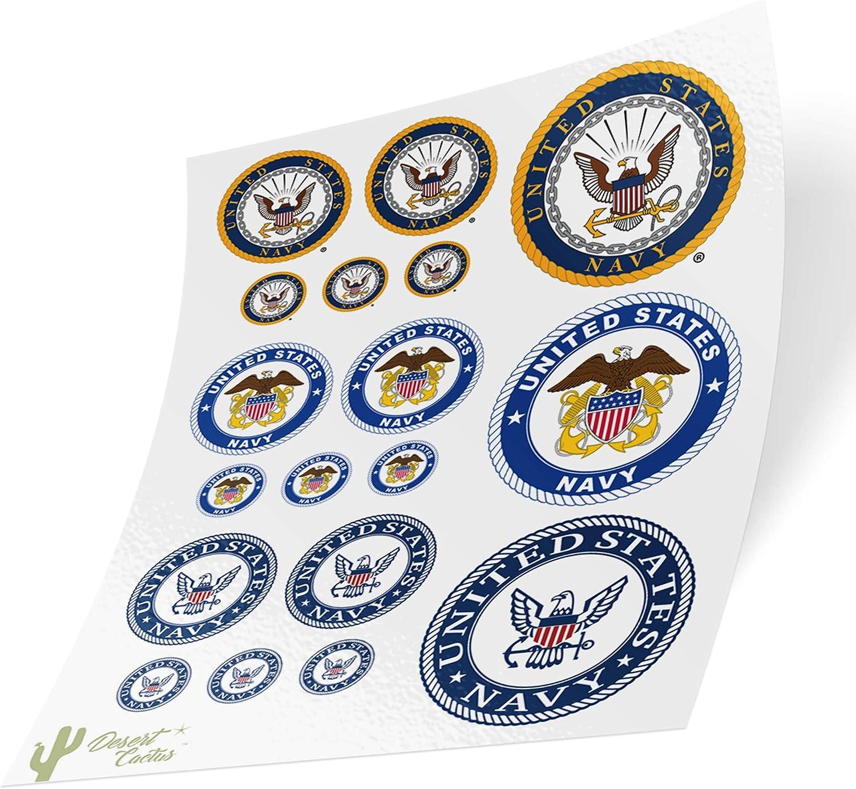 US Navy Emblem Logo Sticker Vinyl Decal Laptop Water Bottle Car Scrapbook Officially Licensed United States (Sheet - 3 Seals)