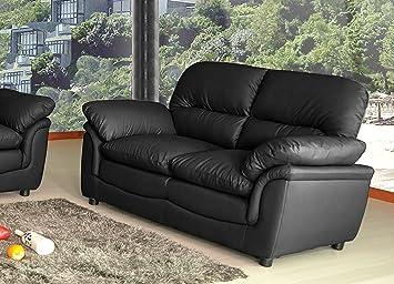 Lovesofas Verona 3 2 1 Seater Bonded Leather Living Room Sofa Suites    Black (2