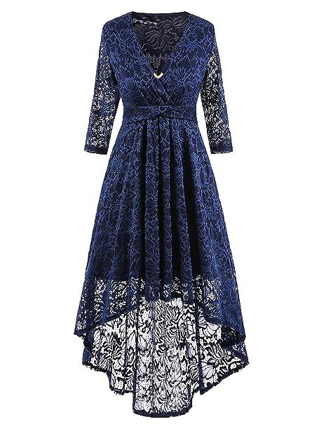 HENCY Vintage 1950s Donna Vestito Pizzo Serata Di Festa Abito Manica 3 4  Scollo a V Eleganti Profondo blu  Amazon.it  Abbigliamento 8e269d1701b