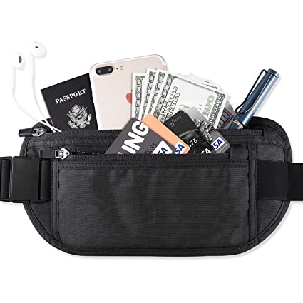 ce892aebccc6 FREETOO Money Belt for Travel RFID Safe Hidden Wallet Waist Stash Wear  Under Clothes for Cards and Passports