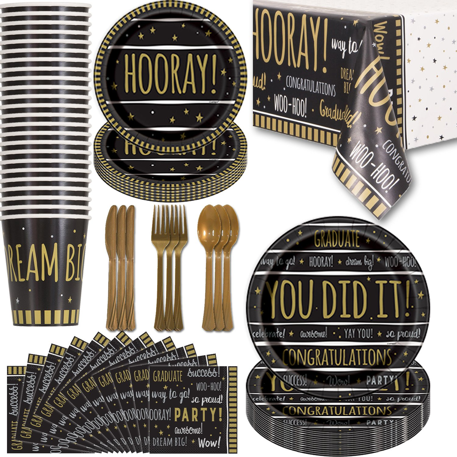 Graduation Party Supplies - 24 Guest - Dinner Plates, Dessert Plates, Napkins, Cups, Tablecloths, Cutlery. Gold and Black Disposable Tableware Set