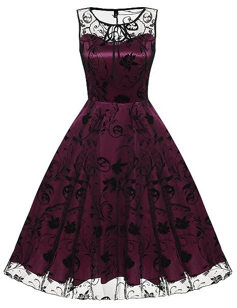 cooshional Vestido de Cóctel Fiesta Elegante para Mujer Estilo Retro Vintage Malla Encaje Rojo