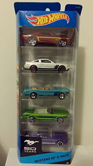 Hot Wheels 5 Car Gift Pack, Mustang 50th Anniversary Edition, 1:64 ...