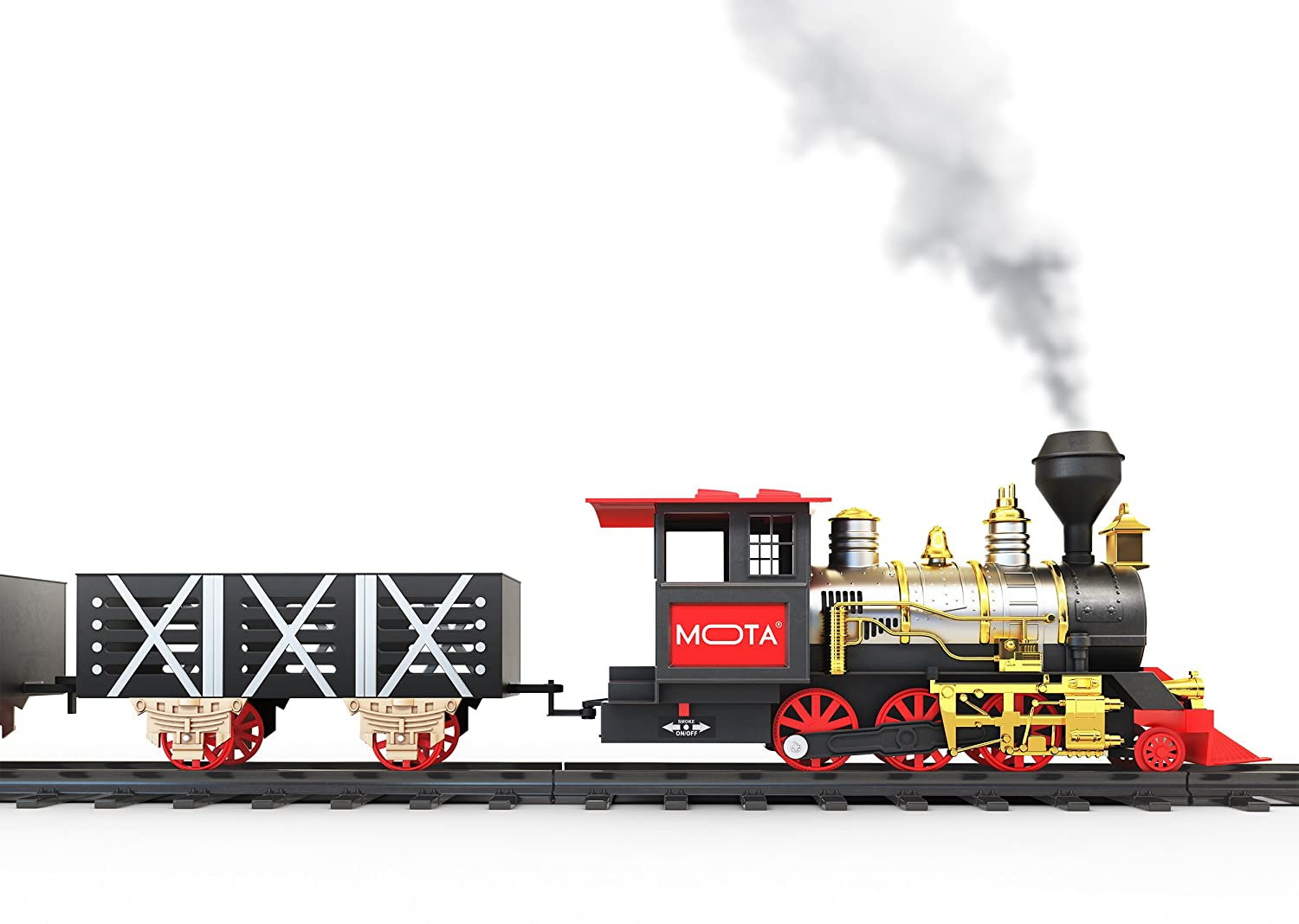 A Full Set with Locomotive Engine, Cargo Cars, Tracks and Christmas Spirit