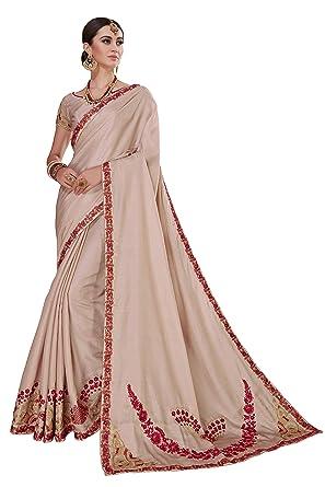 f2c850965c Amazon.com: Glory Sarees Designer Embroidery work Handmade Party Wear  Tussar Silk Saree for Women (Beige): Clothing