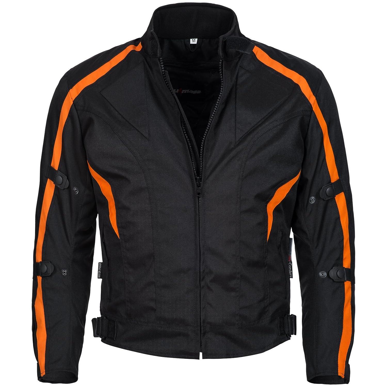 wasserdicht Winddicht Schwarz Orange 784 Gr Limitless Herren Motorradjacke mit Protektoren und Reflektoren Textil Motorrad Jacke aus Cordura 2XL