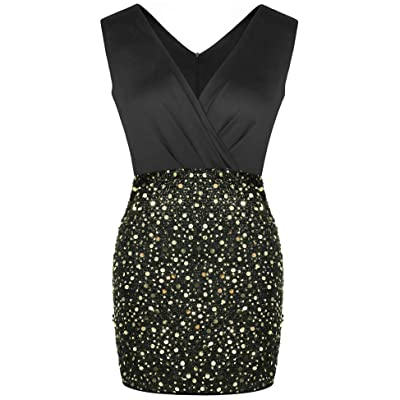 Women's Sequin Dress Sexy V-Neck Sleeveless Bodycon Club Mini Party Dresses: Clothing