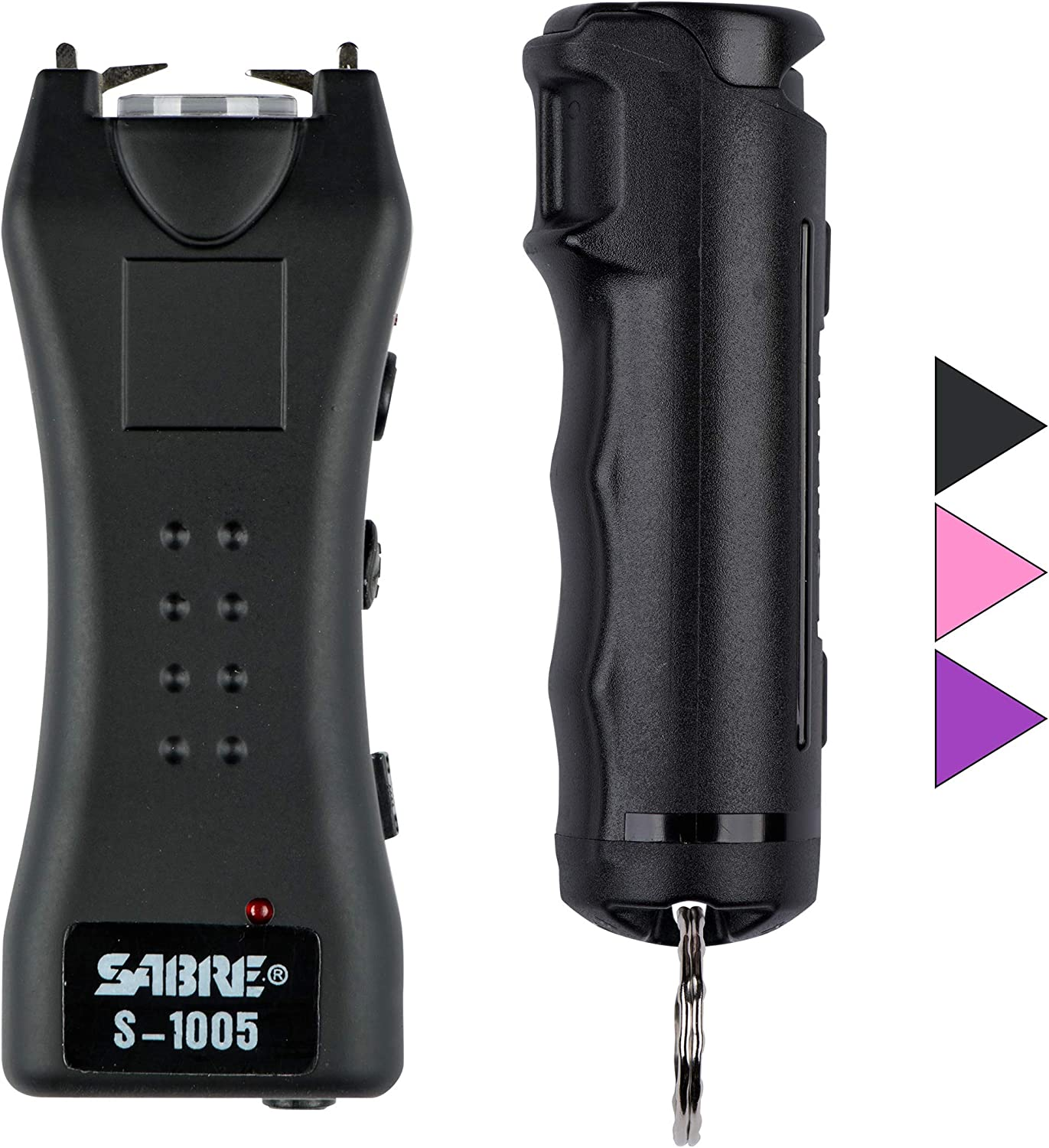 SABRE RED Pepper Spray & Stun Gun Flashlight Self-Defense Kit — Police Strength Flip Top Pepper Spray is Faster to Use Under Stress, Compact 1.6 µC Stun Gun w/Holster & Rechargeable Built-in Battery