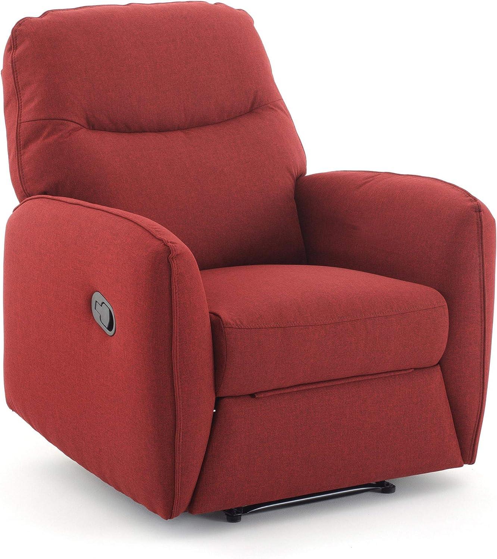 Sillón de relajación reclinable manual, tela Kube roja