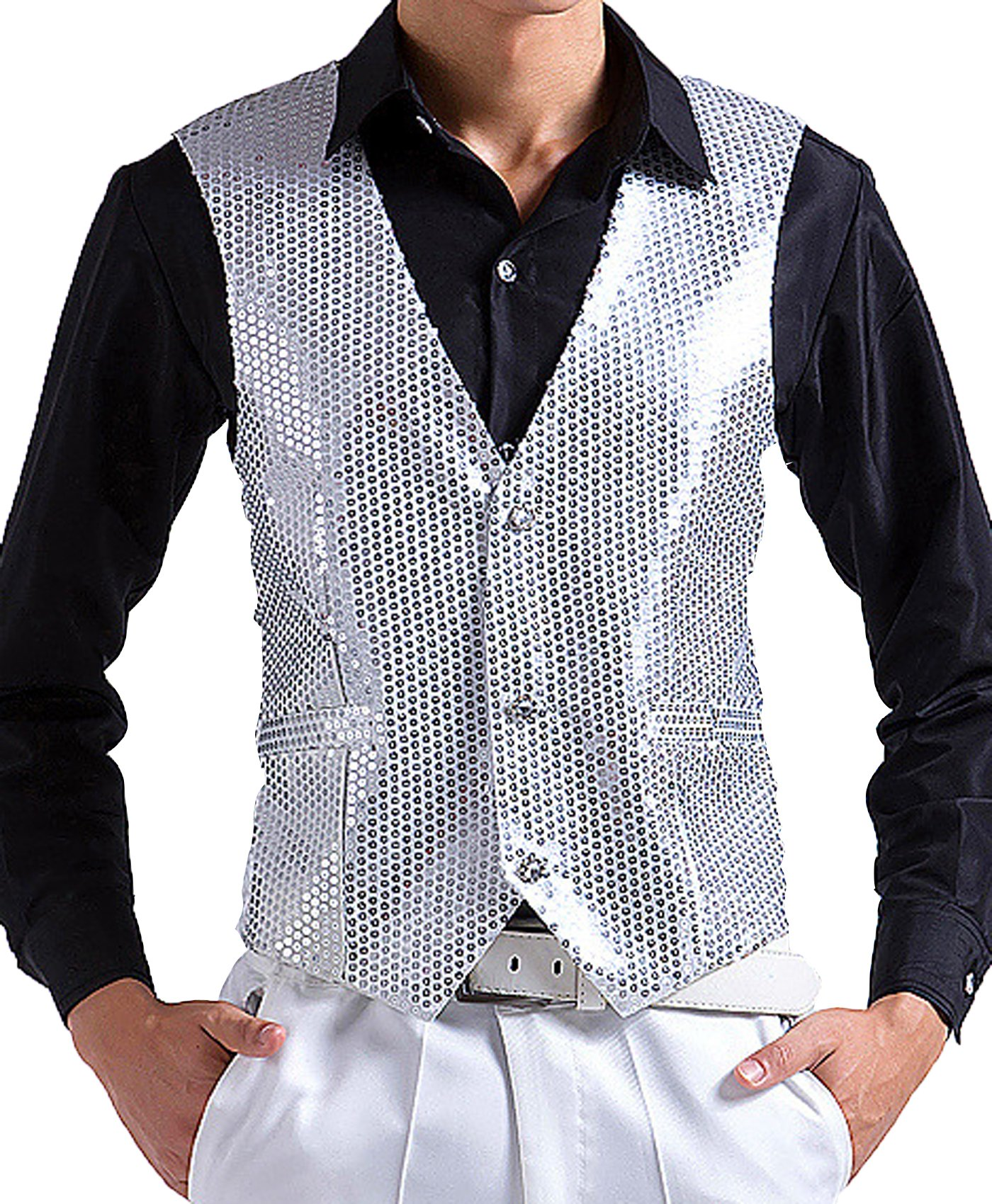 JOKHOO Men's Sequins Vest (XL, Silver)