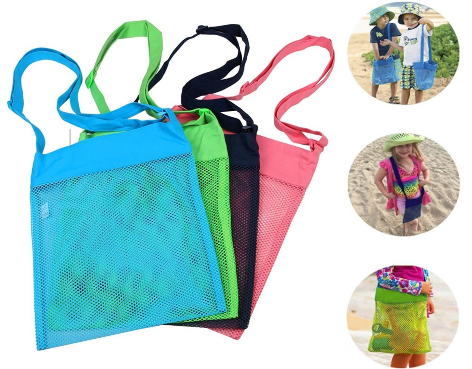 TECH-P Creative Life Sand Away Mesh Beach Bags 11.4 x 13.7 Inch Breathable Sea Shell Bags with Adjustable Carrying Straps-4 Pack (Large)