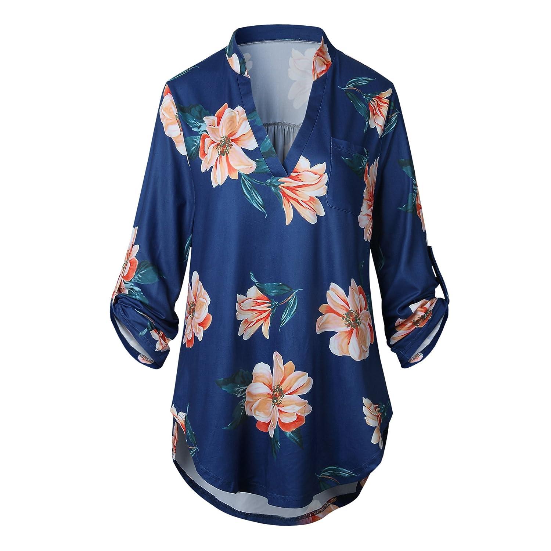 Mujer Blusones Elegantes Clásico Especial Fiesta Estampadas De Flores Tops Camisetas V Cuello Manga 3/4 Casual Moda Anchas Basicas Primavera Otoño Camisas T ...
