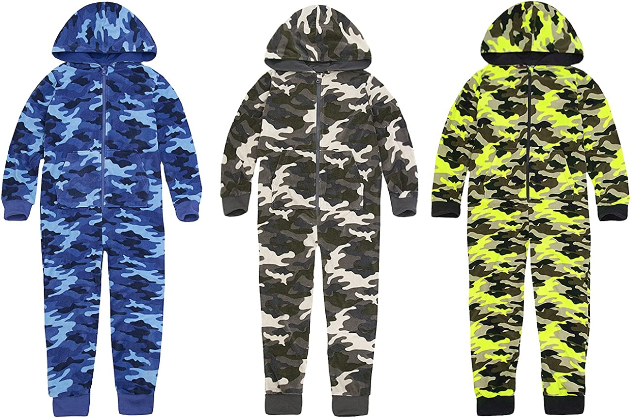 Boys Micro Fleece Onesie Hooded Zip Cuffed Ankles Onesies Camouflage Camo Green Black Brown Yellow Cuffed Ankles Wrists Size 7 8 9 10 11 12 and 13 Years