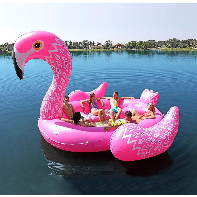 Amazon.com: Giant Inflatable Flamingo Floating Island for 6 ...