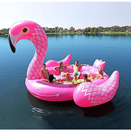 Amazon.com: Giant Inflatable Flamingo Floating Island for 6 ...