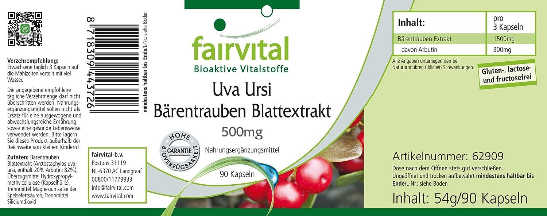 Uva ursi extracto de hoja de gayuba 500 mg - para 1 mes - VEGANO - Alta dosificación - 90 cápsulas - estandarizado a 20% arbutina: Amazon.es: Salud y ...