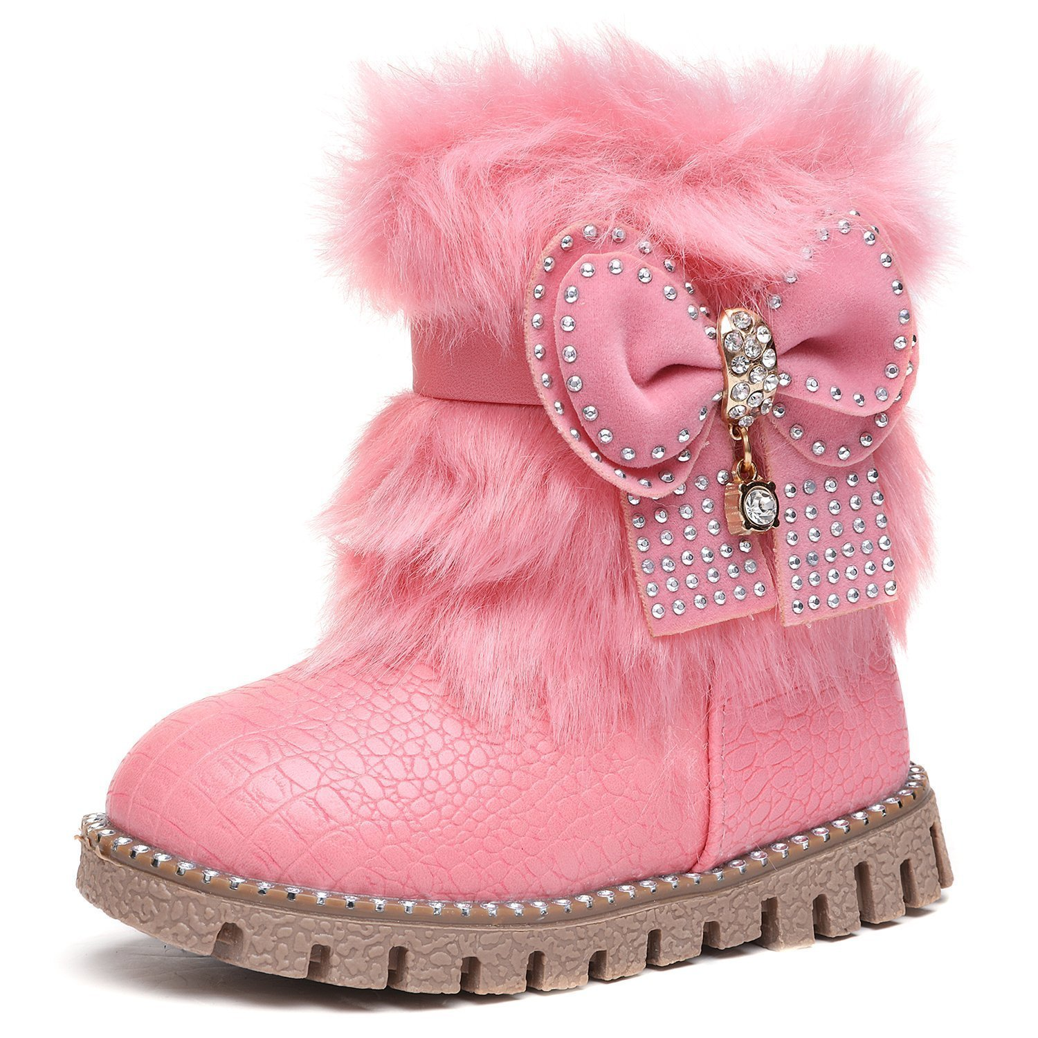 KVbaby Toddler Girls Bowknot Warm Winter Fur Snow Boots Baby Comfort Ankle Boots With Side Zipper