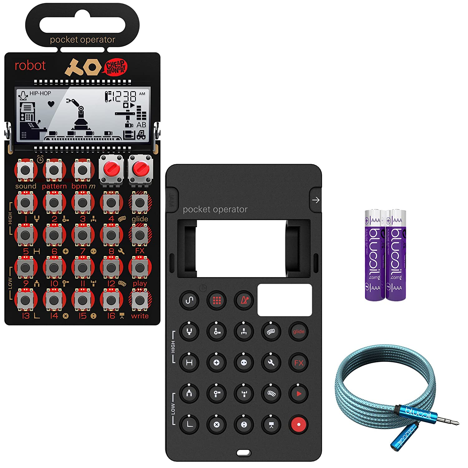 Teenage Engineering PO-28 Robot Performance Synthesizer - BUNDLED WITH - CA-28 Silicone Case, Blucoil 6-Ft Extension Cable AND 2-Pack of AAA Batteries