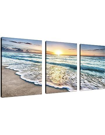 3 Panel Lienzo Arte de la pared para la decoración del hogar Mar Azul  Puesta de 7974e861045